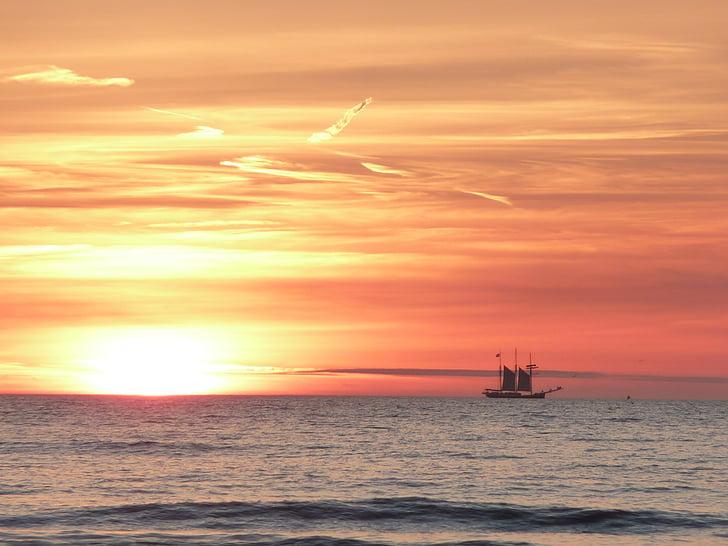 일몰, 항해 보트, 바다, 네덜란드, 석양, abendstimmung, 선박