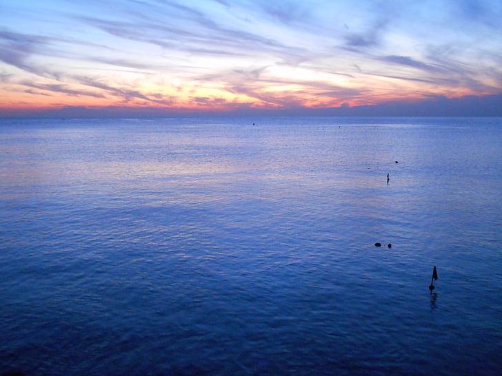 cel, Mar, crepuscle, posta de sol, un lloc tranquil