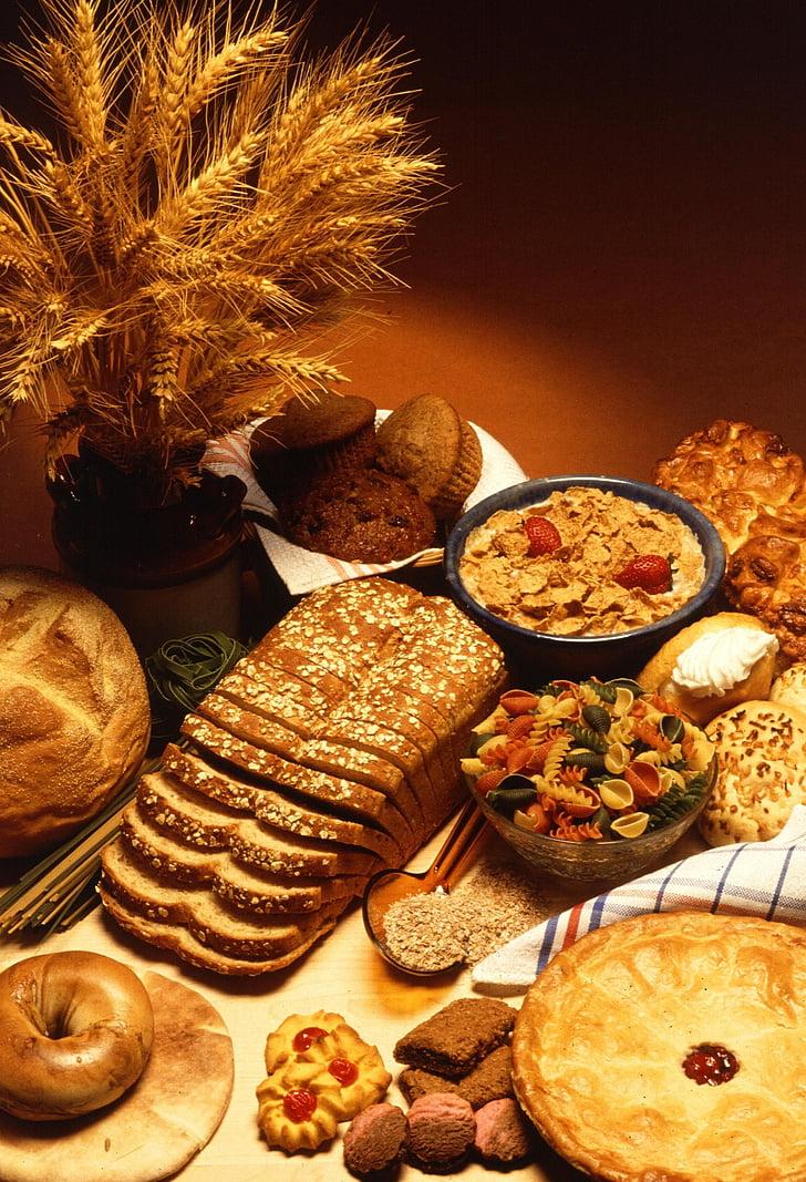 pārtika, pamatojoties, kvieši, maize, dzēriens, pārtika