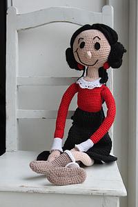 stożek, Popeye, Wzór szydełkowy, Crochet doll, długo lalka, szpinak, pop haki