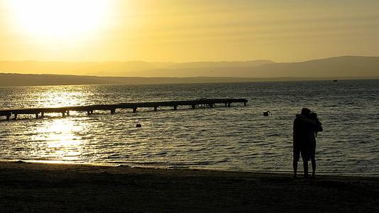 사랑 하는 커플, 페루, 파라 카스, 바다, 로맨틱, 일몰, abendstimmung