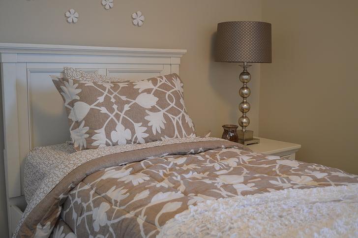 llit, dormitori, Làmpada, capçalera, roba de llit, coixí, casa