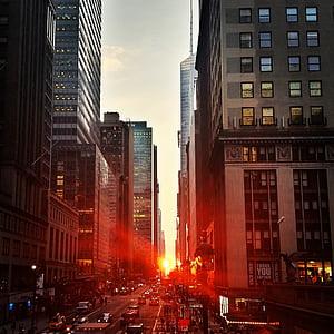 city, manhattan, sunset, town, buildings, skyscrapers, traffic