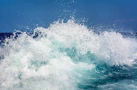 สีฟ้า, โอเชี่ยน, ทะเล, ท้องฟ้า, สาด, น้ำ, คลื่น