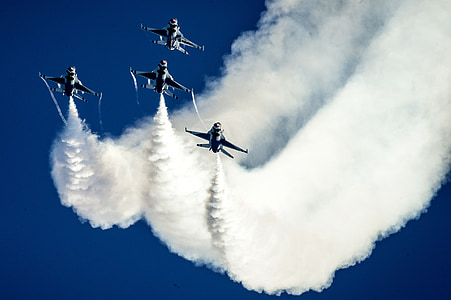 air show, thunderbirds, formation, military, aircraft, jets, f-16