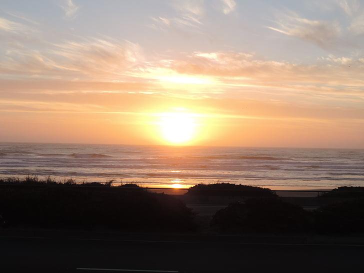solnedgang, Ocean beach, hav