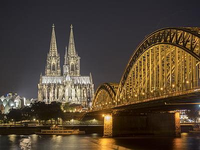 Dom, Cologne, Nhà thờ, Cologne trên sông rhine, Landmark, sông Rhine, buổi tối