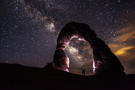 arches national park, dusk, formation, galaxy, geology, landscape, lights