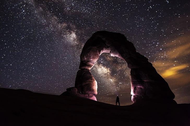 delikāts arka, naktī, zvaigznes, ainava, daba, Scenic, debesis