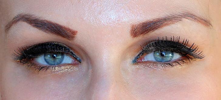 眼睛, 蓝色, 虹膜, 基因, 化妆