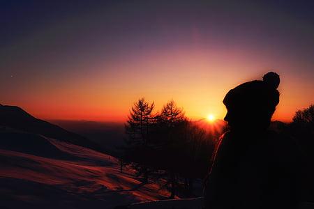 naturen, bergen, träd, solen, solnedgång, personer, vandra