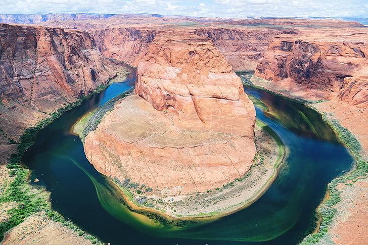 aerial, aerial shot, canyon, clouds, cloudy, desert, idyllic