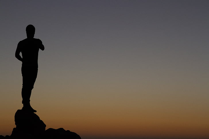 sunset, stand, people, person, young, silhouette, sky