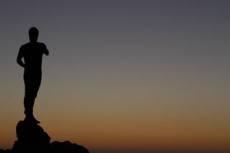 Západ slunce, stojan, lidé, osoba, mladý, silueta, obloha