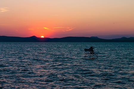 l'amor, l'estiu, posta de sol, passeig marítim, Llac, dia s, natura