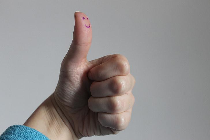 smil, knytnæve, finger, thums, thumbs op, hånd, gestus