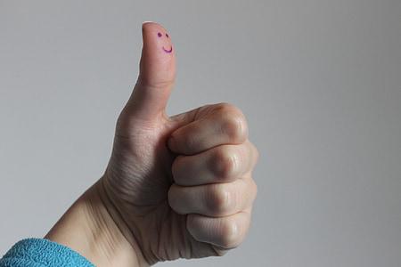 笑顔, 拳, 指, thums, 親指, 手, ジェスチャ