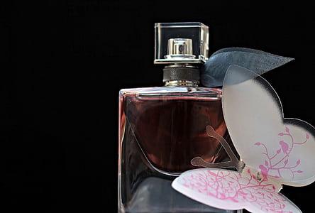 парфюм, flacon, стъклена бутилка, бутилка, все още живот, парфюм бутилка, пеперуда