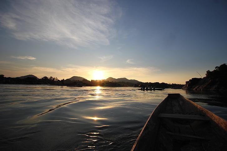 solnedgång, vatten, båt, Laos, 4000 öar, Asia, Mekong