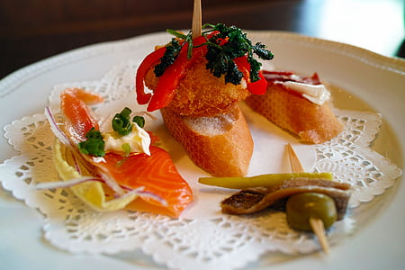 Restaurant, pintxos, cuina, aliments, placa, gurmet