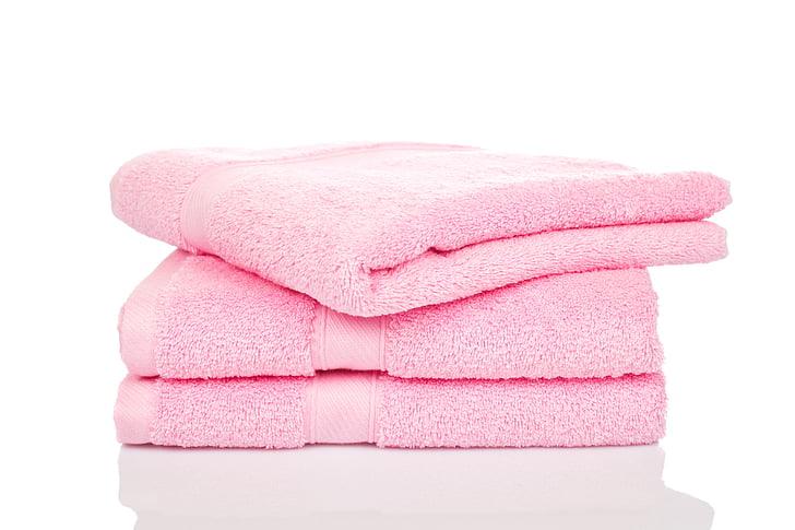 törölköző, tiszta, közeli kép:, szín, pamut, mosoda, rózsaszín