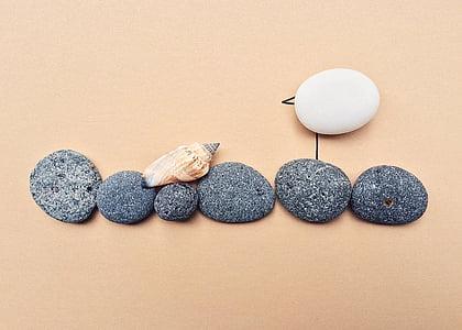 seagull, beach, ocean, bird, rock, art