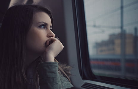 people, girl, travel, alone, sad, women, window