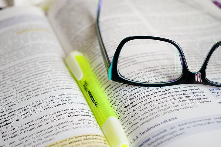 ulleres, llegir, aprendre, llibre, text, marcador, ploma
