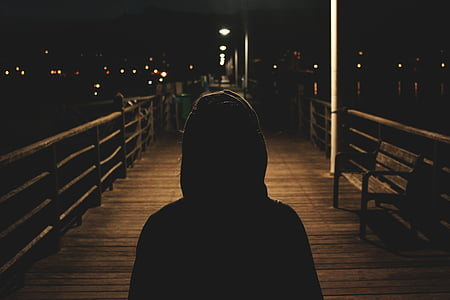 person, hooded, jacket, silhouette, silhouettes, rear view, night