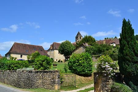 poble, poble medieval, cases, Portal, Dordonya, estil perigordian, Cases de Perigord
