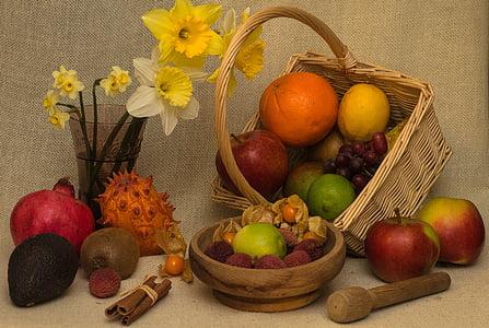 Zátiší, ovoce, Koš, kytice, zdobené, ovoce, mísu s ovocem