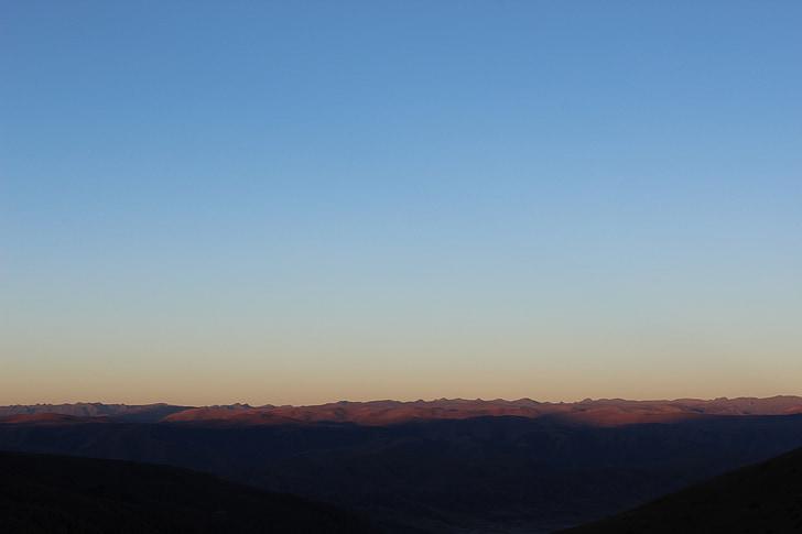 plateau, au début de la matinée, montagnes, Affichage, Vérifier, Panorama, nouvelles du matin