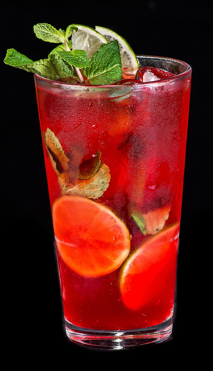 summer drink, strawberry, mint, cocktail, glass, hugo, cold