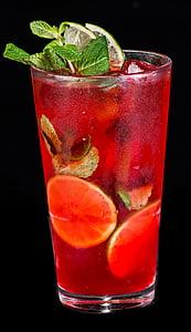 thức uống mùa hè, dâu tây, bạc Hà, cocktail, thủy tinh, Hugo, lạnh