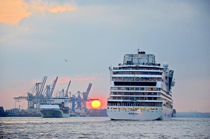 hamn, Hamburg, Aida, solnedgång, Elbe, fartyg, hamnen i hamburg