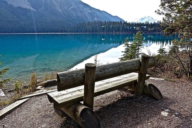 assento, de madeira, modo de exibição, água, Lago, pacífica, tranquilo
