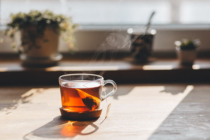 lifestyle, kitchen, herbal, tea, drink, morning, sunshine