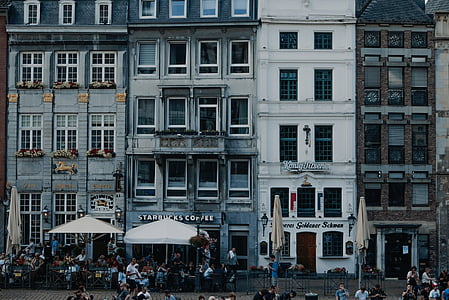 buildings, structure, architecture, starbucks, street, people, crowd
