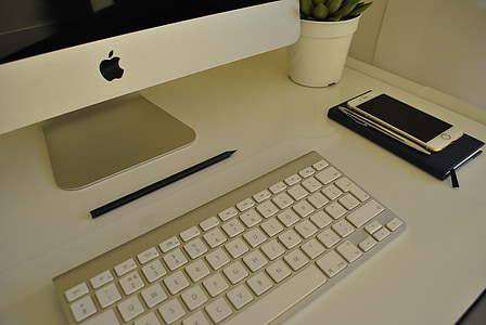 imac, desk, white, keyboard, table, computer, office