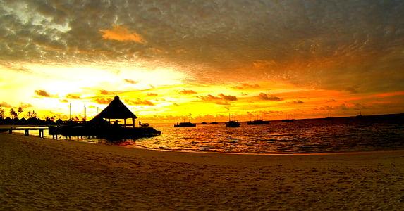 Maldives, posta de sol, platja, illa, complex, Mar, vacances