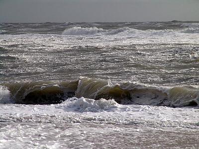 morje, val, vode, spray, pene, surf, nevihtno
