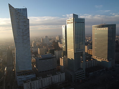 skyscrapers, warsaw, business