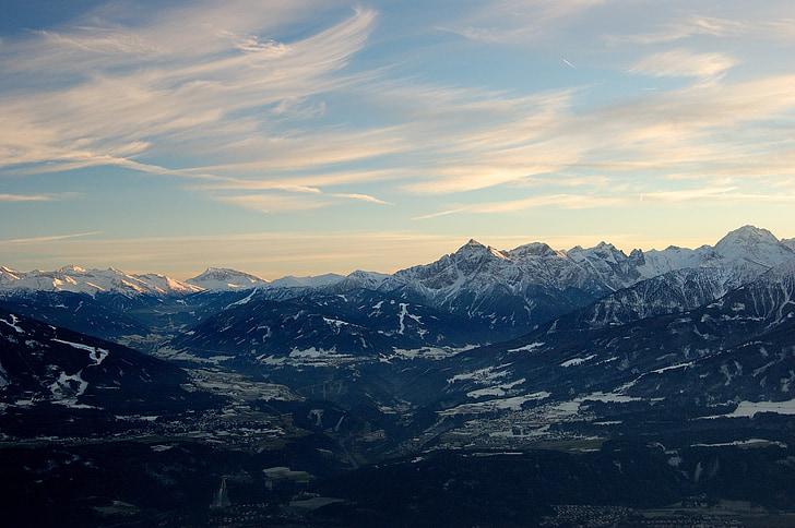 Innsbruck, montanhas, neve, Vista distante, pôr do sol, perspectivas, Nevado
