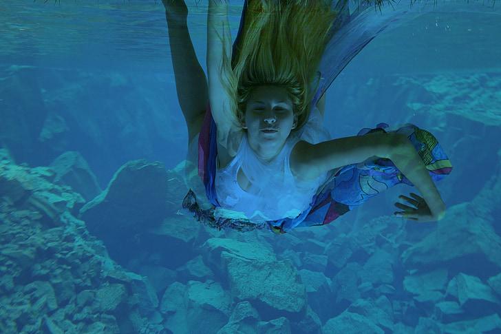girl, underwater, mermaid, swim, water, blue