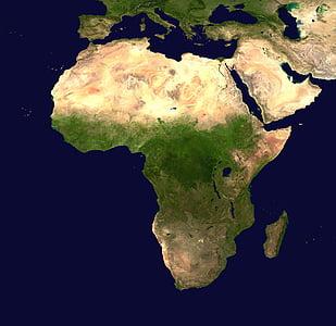 l'Afrique, continent, vue aérienne, géographie, carte, image satellite, photo satellite