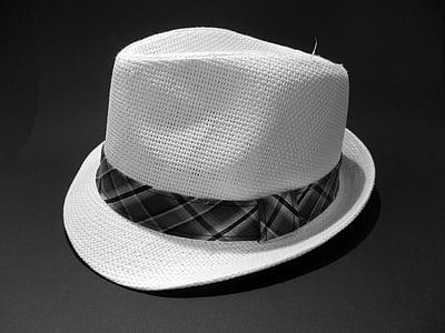 müts, õlgkübar, retro, peakatteta, mustal taustal, No inimesed, Studio shot