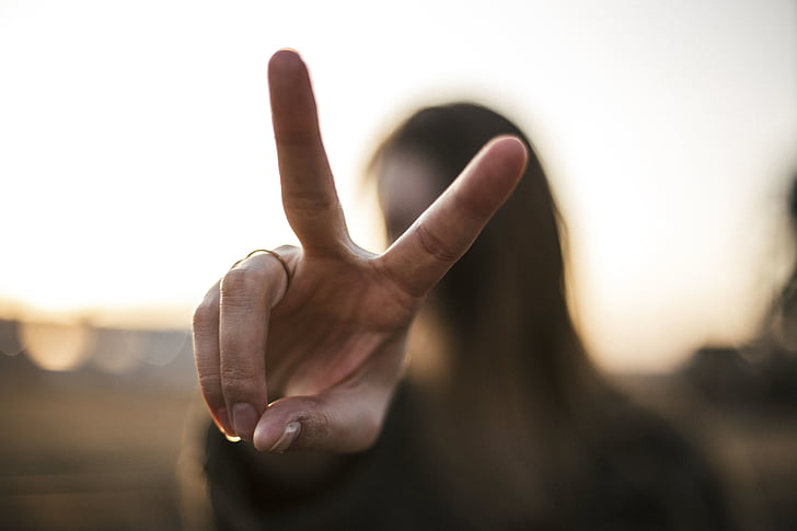 mensen, vrouw, vingers, handen, vrede, menselijke hand, mannen