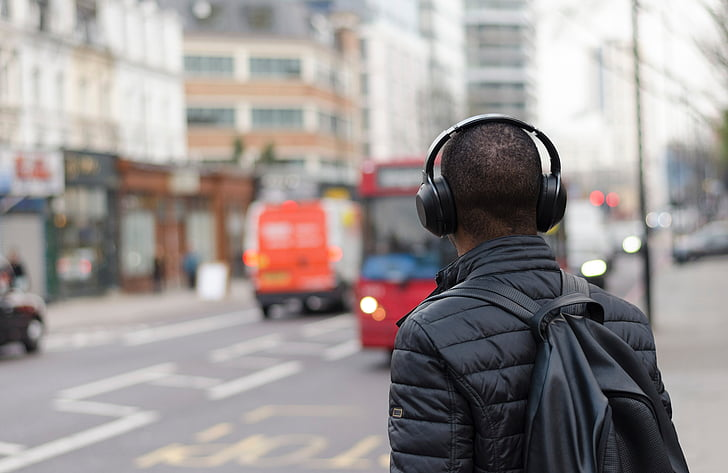 people, man, guy, travel, city, black, headphone