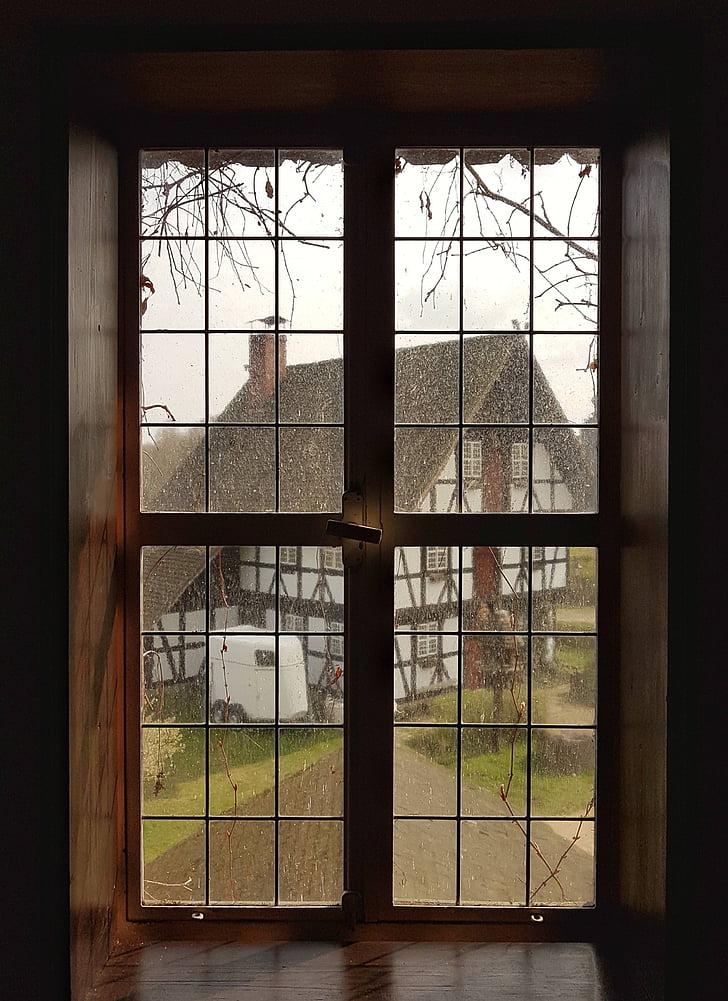 okno, sklo, rámeček, mimo, dům, prší, sklo - materiál