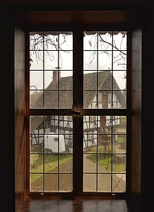 window, glass, frame, outside, house, raining, glass - Material